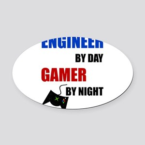 Engineer By Day Gamer By Night Oval Car Magnet