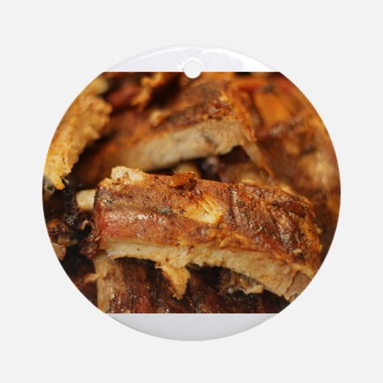 barbequed ribs close Round Ornament