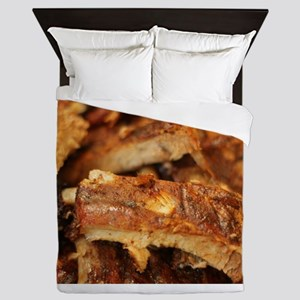 barbequed ribs close Queen Duvet