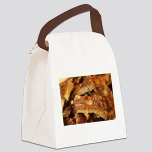 barbequed ribs close Canvas Lunch Bag