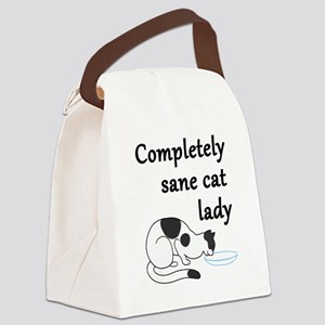 Completely Sane Cat Lady Canvas Lunch Bag