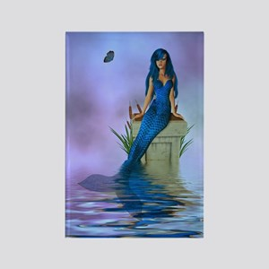 Blue Mermaid Rectangle Magnet