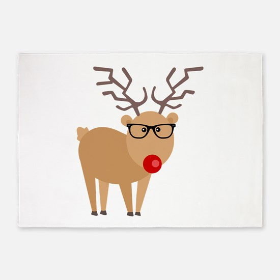 Hipster Rudolph Reindeer Cute Holiday Art 5'x7'Are