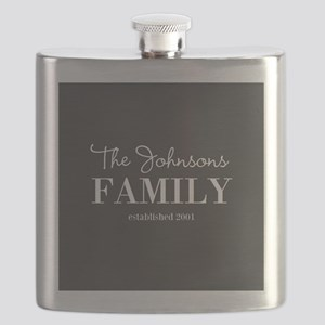 Personalized Family Name Charcoal Gray Flask