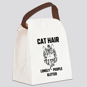 Cat Hair Is Lonely People Glitter Canvas Lunch Bag
