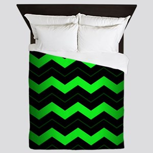 Green Chevron Queen Duvet