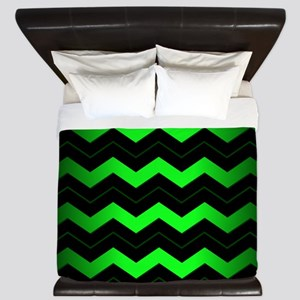 Green Chevron King Duvet