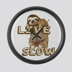 Funny Sloth - LIVE SLOW Large Wall Clock