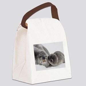 Seal Pup Kisses Mom Canvas Lunch Bag
