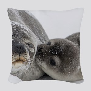 Seal Pup Kisses Mom Woven Throw Pillow