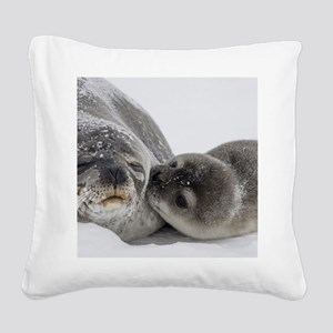 Seal Pup Kisses Mom Square Canvas Pillow