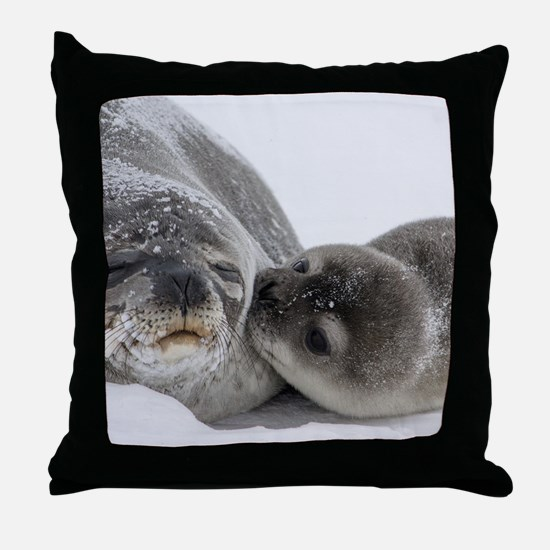 Seal Pup Kisses Mom Throw Pillow