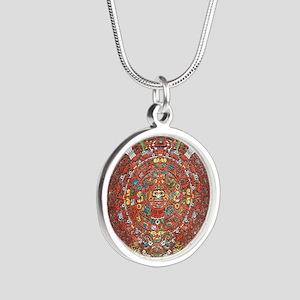 Mayan Calendar . Silver Round Necklace