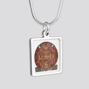 Mayan Calendar . Silver Square Necklace