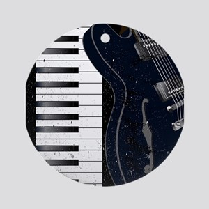 Jazz Instrument Background Round Ornament