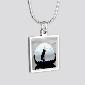 Viking Ship Silver Square Necklace