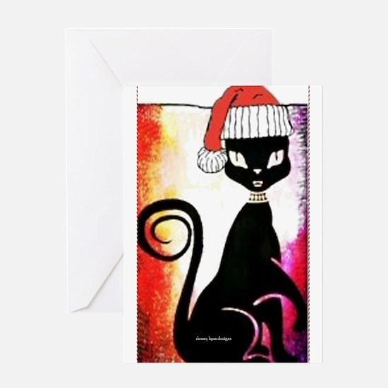 Santa Diva Cat Card Greeting Cards