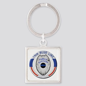 Family Thin Blue Line Keychains