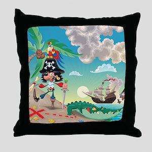 Pirate Cartoon Throw Pillow