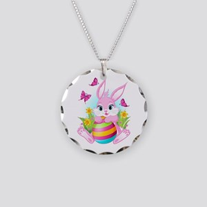 Pink Easter Bunny Necklace Circle Charm