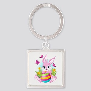 Pink Easter Bunny Square Keychain