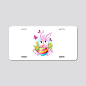 Pink Easter Bunny Aluminum License Plate