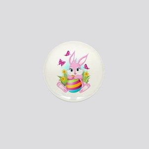 Pink Easter Bunny Mini Button
