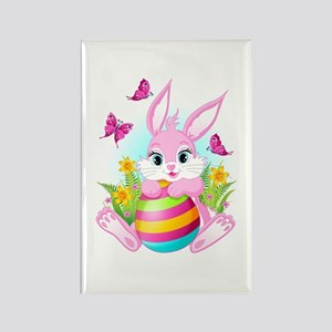 Pink Easter Bunny Rectangle Magnet