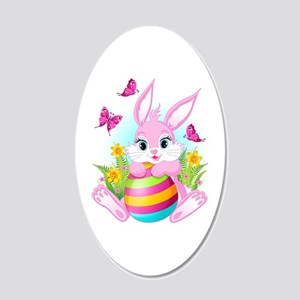 Pink Easter Bunny 20x12 Oval Wall Decal