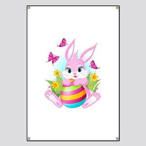 Pink Easter Bunny Banner