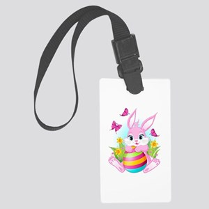 Pink Easter Bunny Large Luggage Tag