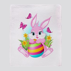 Pink Easter Bunny Throw Blanket