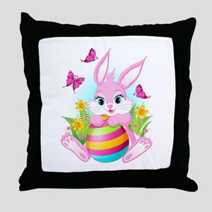 Pink Easter Bunny Throw Pillow