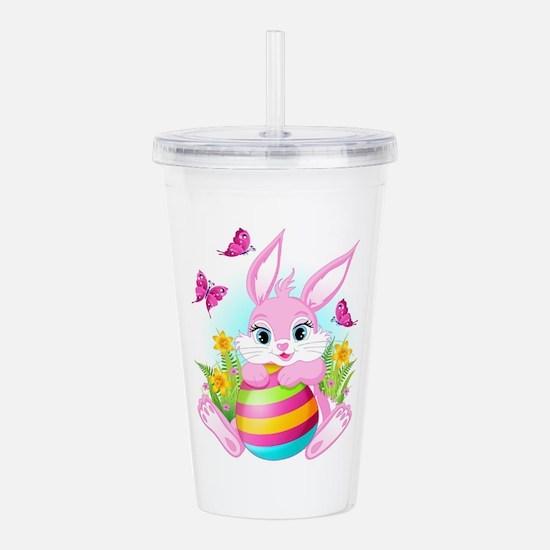 Pink Easter Bunny Acrylic Double-wall Tumbler