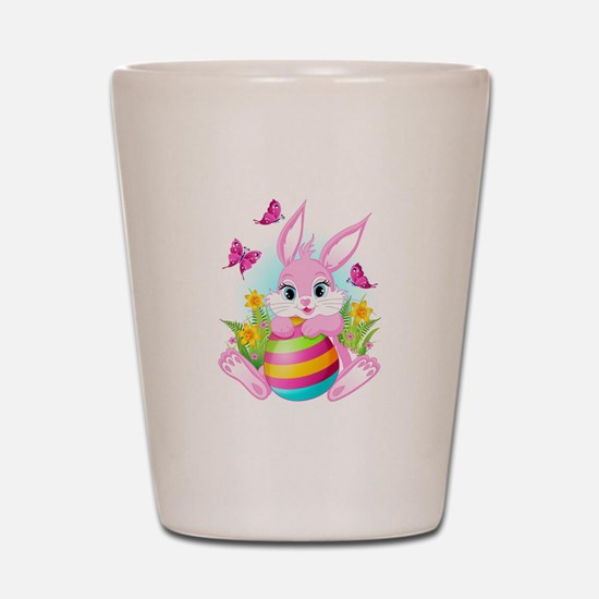 Pink Easter Bunny Shot Glass