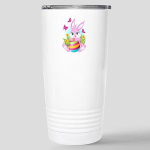 Pink Easter Bunny Stainless Steel Travel Mug