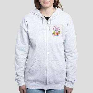 Pink Easter Bunny Women's Zip Hoodie