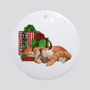 Cute Cat, Mouse And Christmas Round Ornament