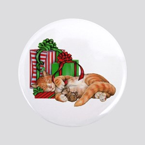 Cute Cat, Mouse And Christmas Presents Button