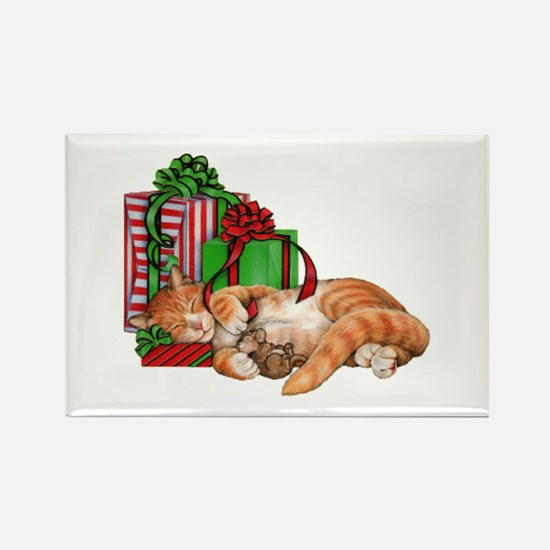 Cute Cat, Mouse And Christmas Presents Magnets