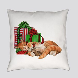 Cute Cat, Mouse And Christmas Everyday Pillow