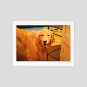 panting golden dog 5'x7'Area Rug