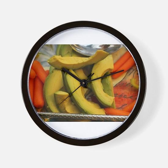 avocados and carrots Wall Clock