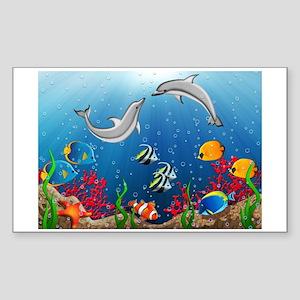 Tropical Underwater World Sticker (Rectangle)