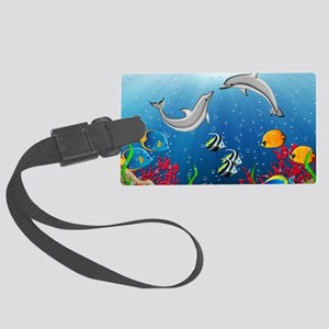 Tropical Underwater World Large Luggage Tag
