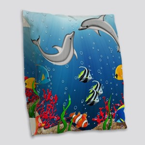 Tropical Underwater World Burlap Throw Pillow