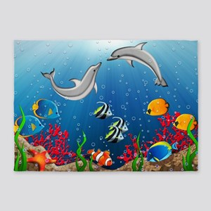Tropical Underwater World 5'x7'Area Rug