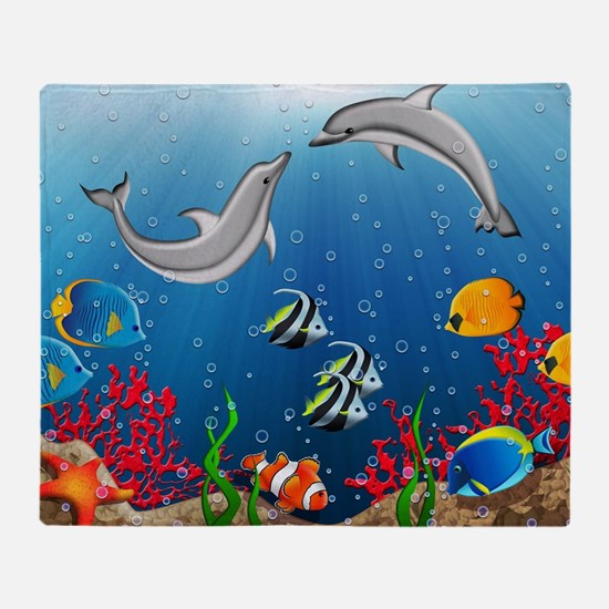 Tropical Underwater World Throw Blanket