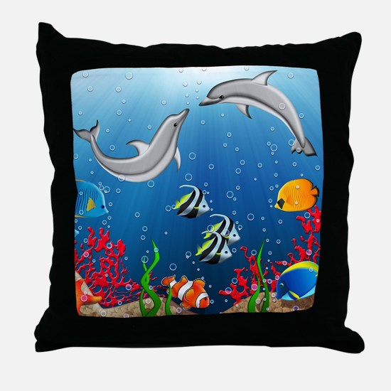 Tropical Underwater World Throw Pillow