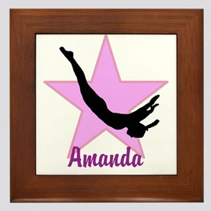 Pink Trampoline Star Framed Tile